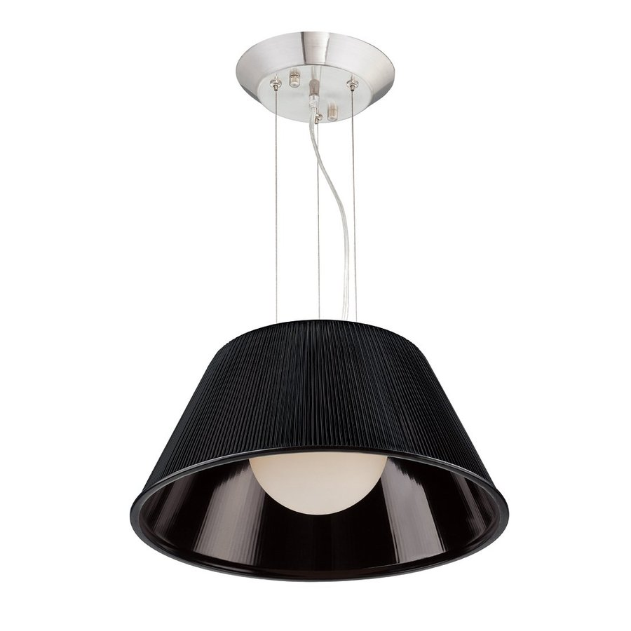 Eurofase Ribo 19.5-in Chrome Industrial Black Ribbed Glass Drum Pendant