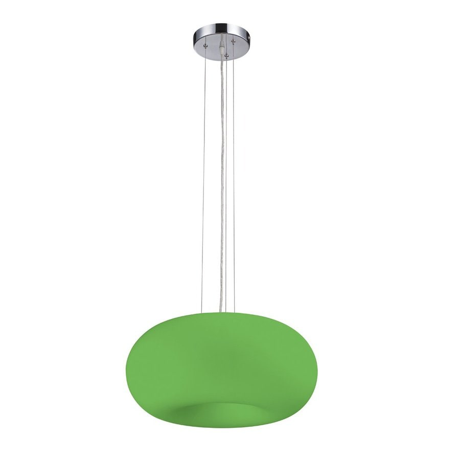 Eurofase Pop-2 19-in Chrome Green Glass Oval Pendant