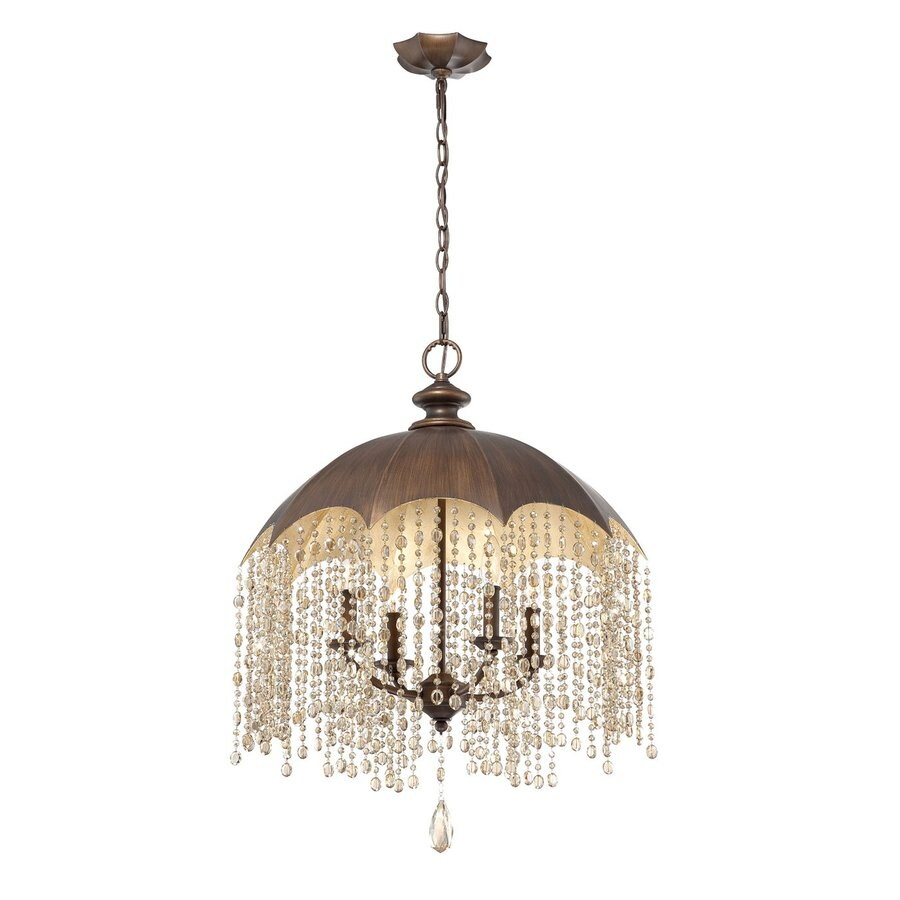 Eurofase Ombrello 22.25-in 4-Light Oil Rubbed Bronze Vintage Crystal Draped Chandelier