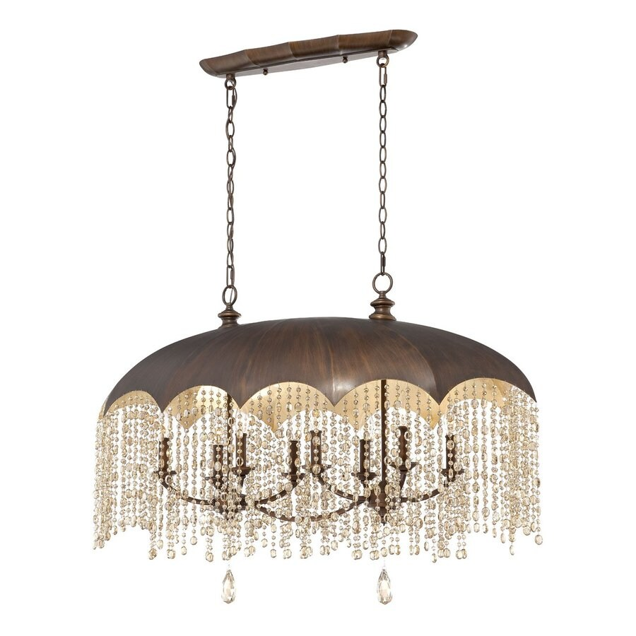 Eurofase Ombrella 20-in W 8-Light Oil Rubbed Bronze Kitchen Island Light with Crystal Shade
