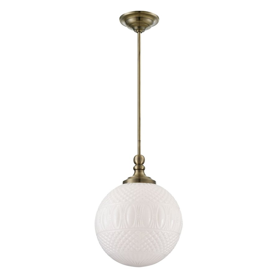 Eurofase Volto 11.75-in Antique Brass Vintage Textured Glass Globe Pendant