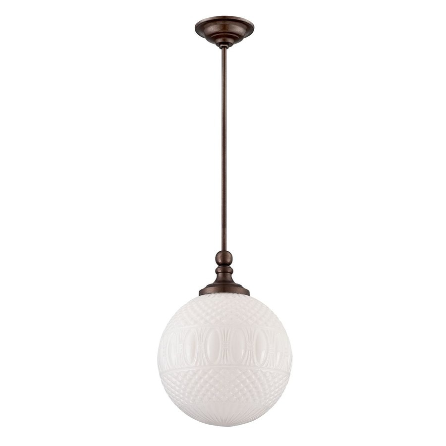 Eurofase Volto 11.75-in Oil Rubbed Bronze Vintage Textured Glass Globe Pendant