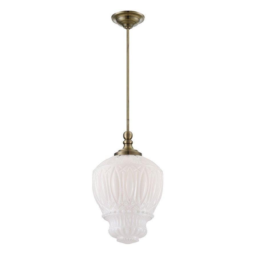 Eurofase Antico 11.75-in Antique Brass Vintage Textured Glass Acorn Pendant