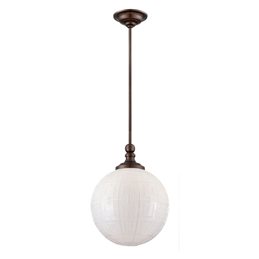 Eurofase Liso 11.75-in Oil Rubbed Bronze Vintage Textured Glass Globe Pendant