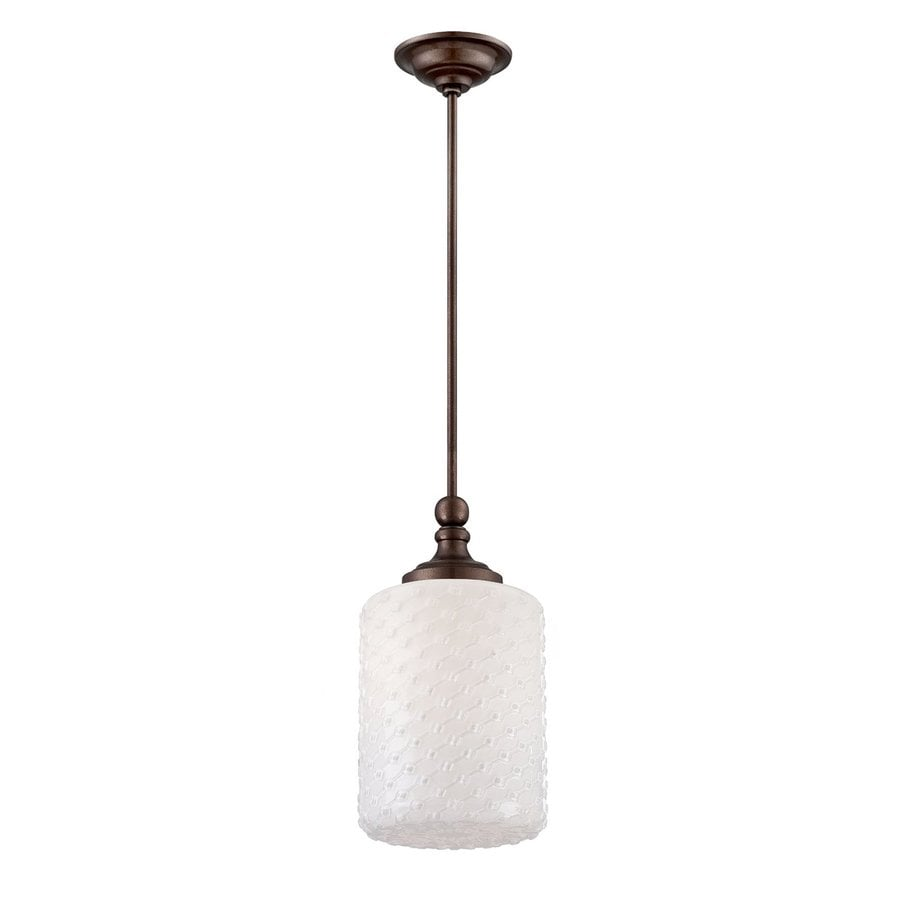 Eurofase Scala 8-in Oil-Rubbed Bronze Vintage Mini Textured Glass Cylinder Pendant