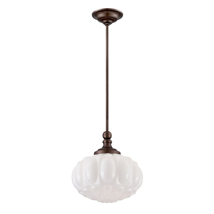 Eurofase Muso 11.75-in Oil-Rubbed Bronze Vintage Textured Glass Geometric Pendant