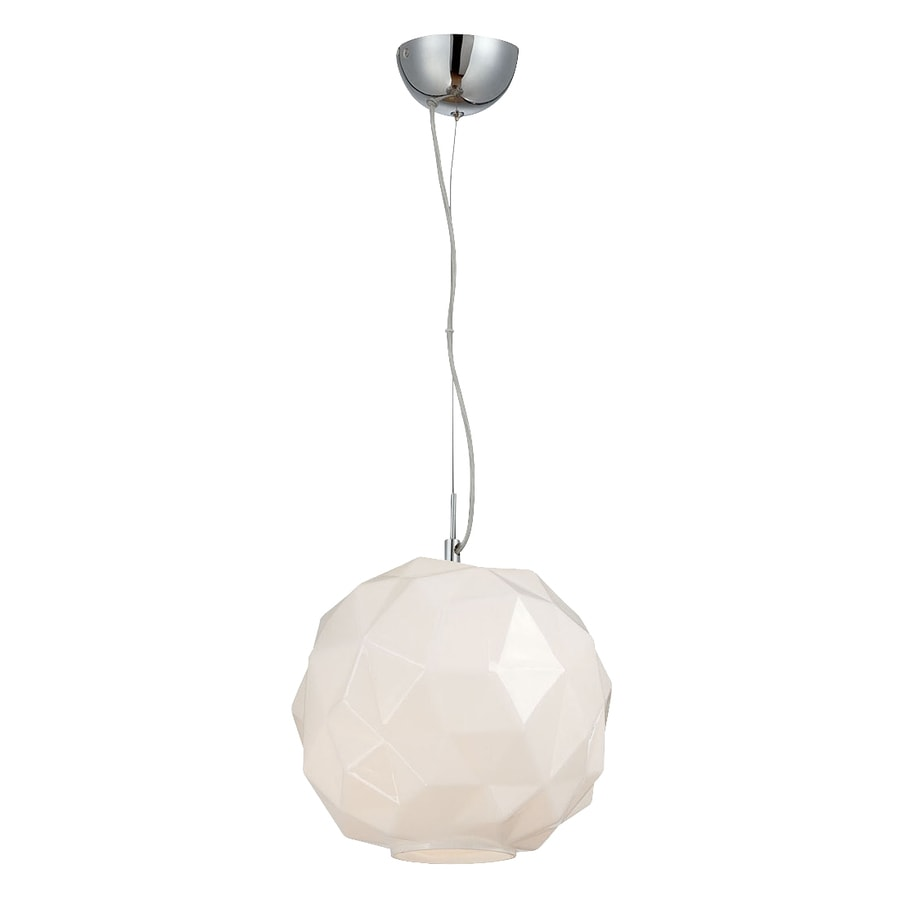 Eurofase Studio 11.75-in Chrome Industrial Textured Glass Globe Pendant