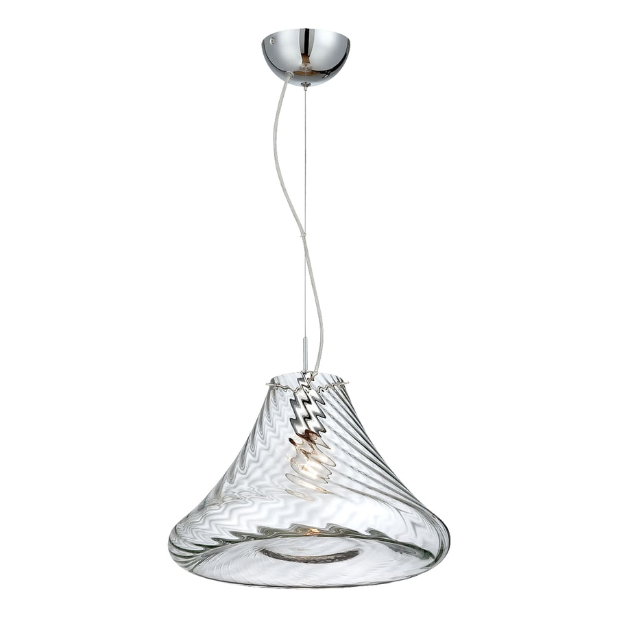 Eurofase Bloor 15-in Chrome Industrial Textured Glass Bell Pendant