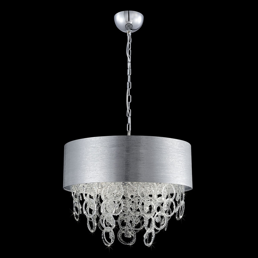 Eurofase Jura 23.5-in Chrome Clear Glass Drum Pendant