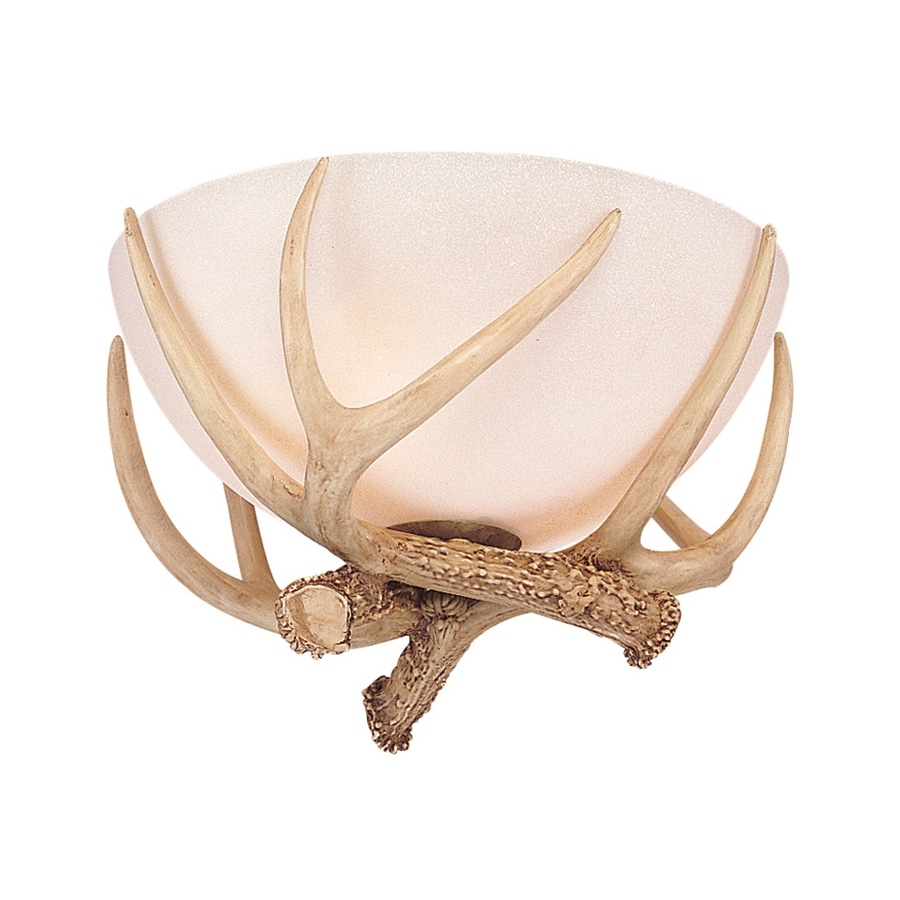 Monte Carlo Fan Company Antler Bowl 11-in W Antique white Frosted Glass Semi-Flush Mount Light