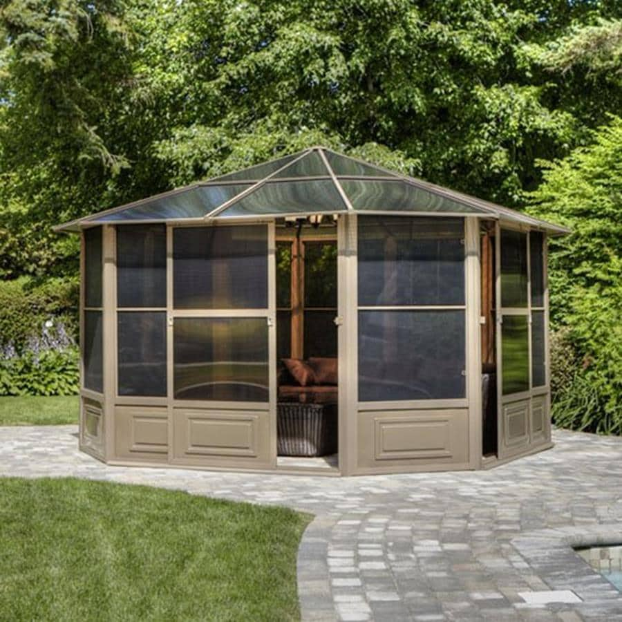 Shop gazebo penguin brown metal octagon screened gazebo exterior 12 ft x 12 - Pergola aluminium en kit ...