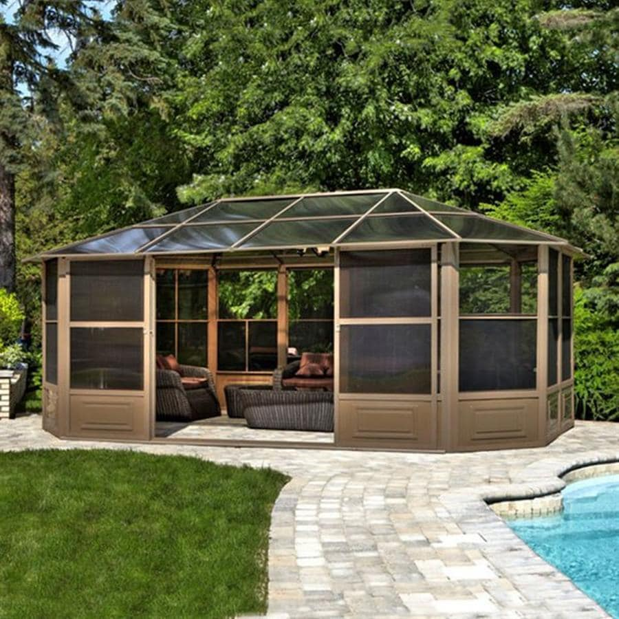 Shop gazebo penguin brown metal octagon screened gazebo exterior x - Enclosed gazebo models ...