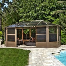 Gazebo Penguin Brown Aluminum Octagon Screened Gazebo (Exterior: 18.91 Ft X  12.04