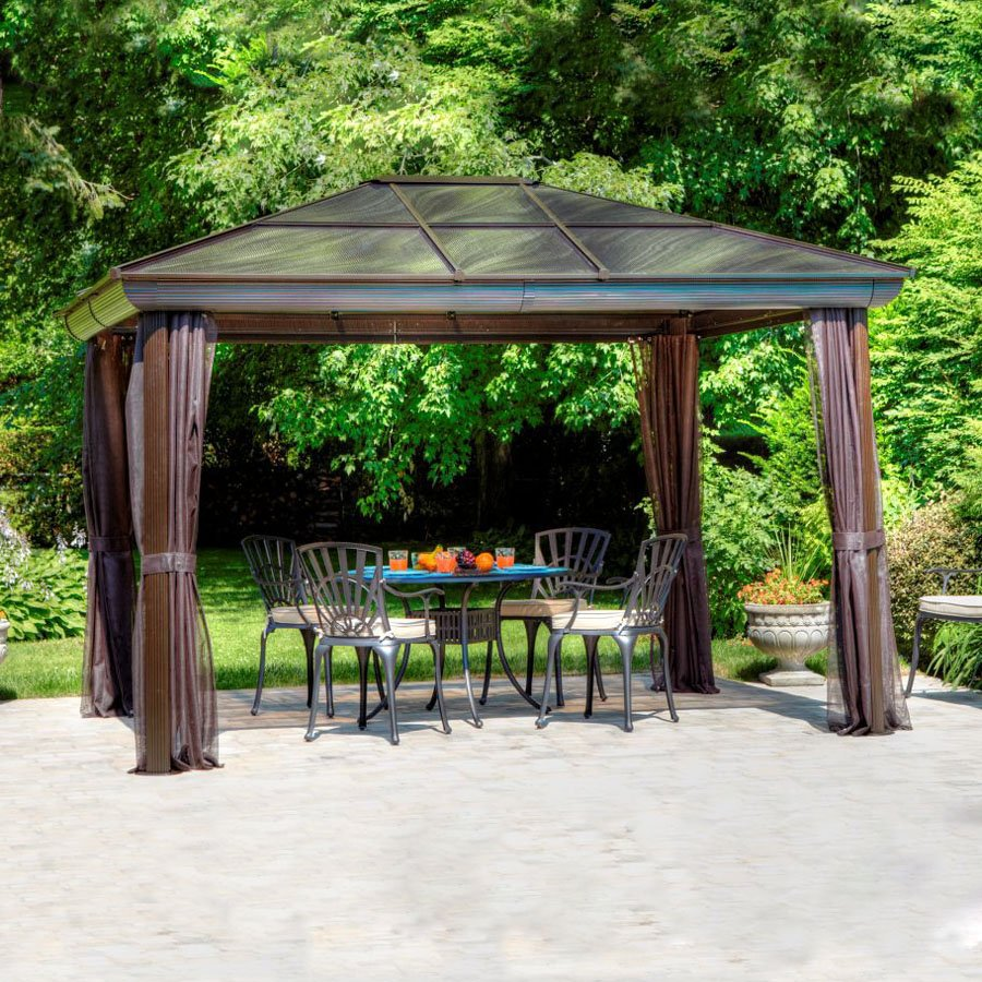 Gazebo Penguin Brown Metal Rectangle Screened Gazebo