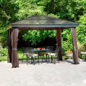 Amazing Gazebo Penguin Brown Metal Rectangle Screened Gazebo (Exterior: 14 Ft X 10