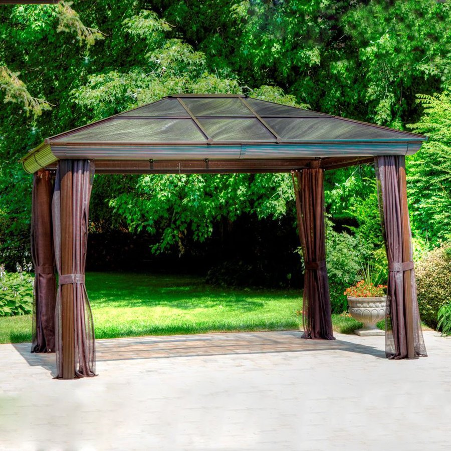 Shop gazebo penguin brown aluminum rectangle screened gazebo exterior 14 ft x at - Build rectangular gazebo guide models ...