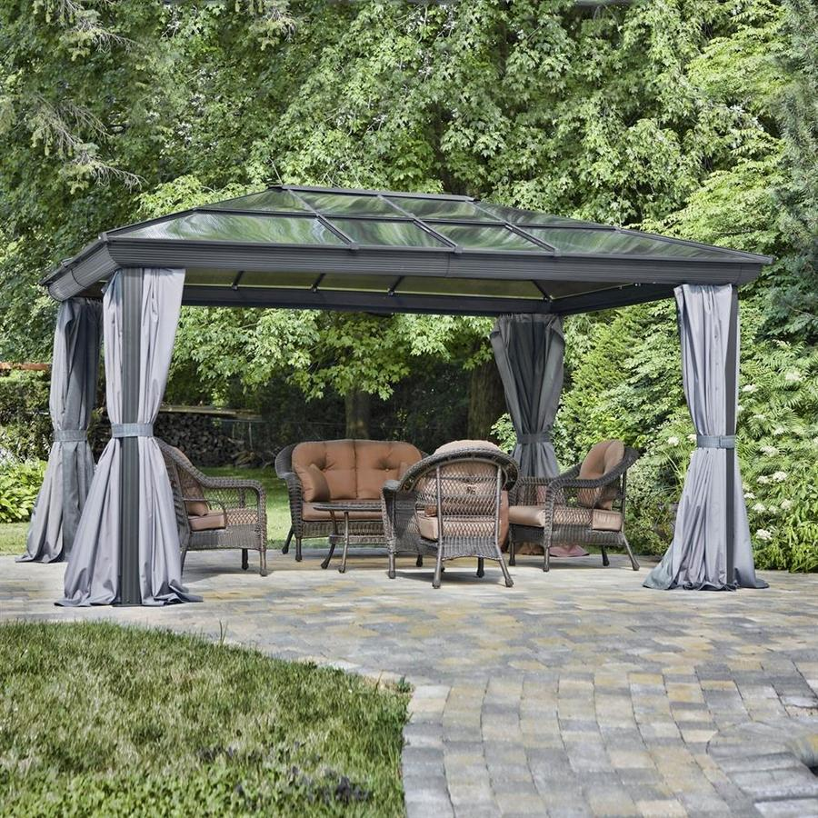 Gazebo Penguin Brown Metal Rectangle Screened  Gazebo (Exterior: 16.16-ft x 11.91-ft; Foundation: 10.9-ft x 15.5-ft)