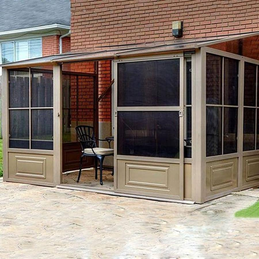shop gazebo penguin brown metal rectangle screened gazebo exterior 12 ft x 7 8 ft foundation. Black Bedroom Furniture Sets. Home Design Ideas