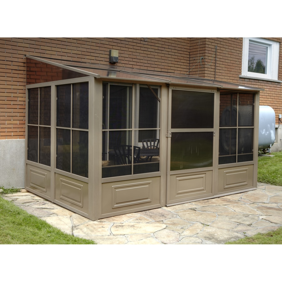 shop gazebo penguin brown metal rectangle screened gazebo exterior 12 ft x 10 3 ft foundation. Black Bedroom Furniture Sets. Home Design Ideas