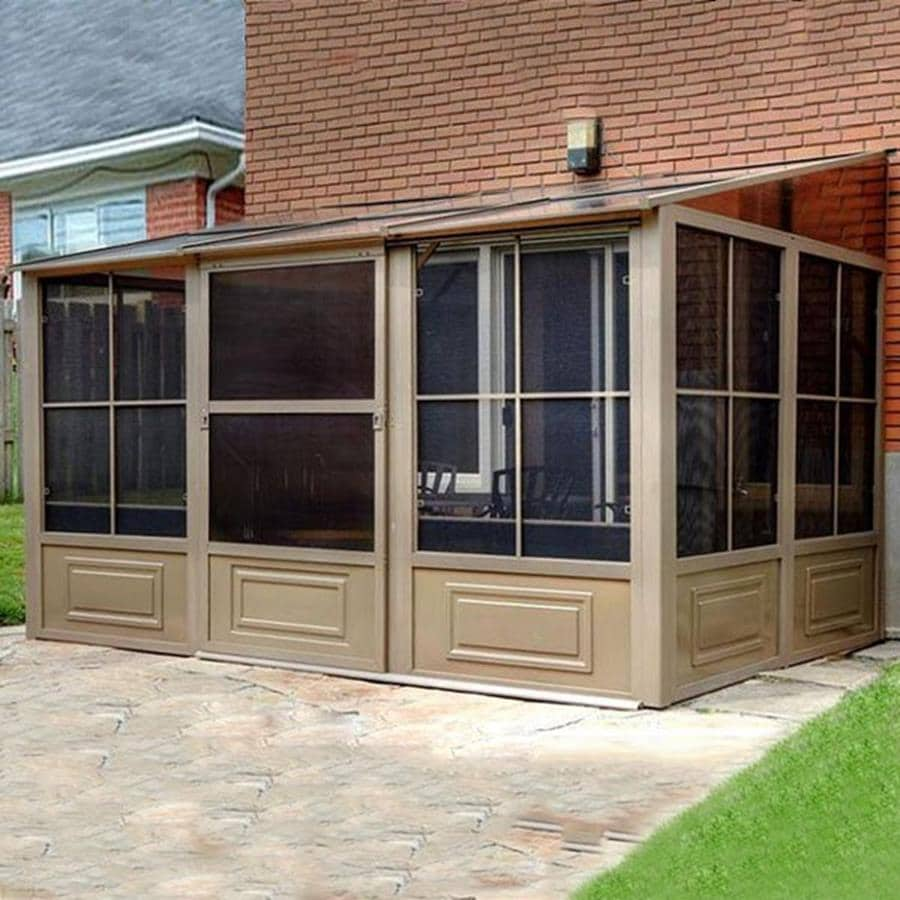 Gazebo Penguin Brown Metal Rectangle Screened  Gazebo (Exterior: 15.83-ft x 8-ft; Foundation: 7.8-ft x 15.8-ft)