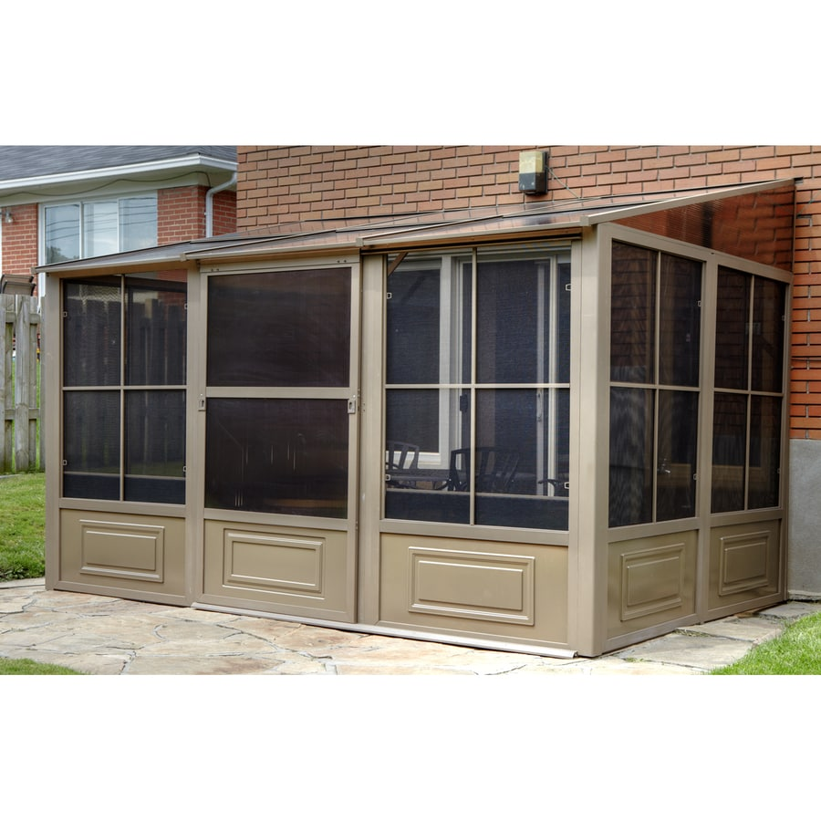 Shop gazebo penguin brown metal rectangle screened gazebo for Add a room mural gazebo