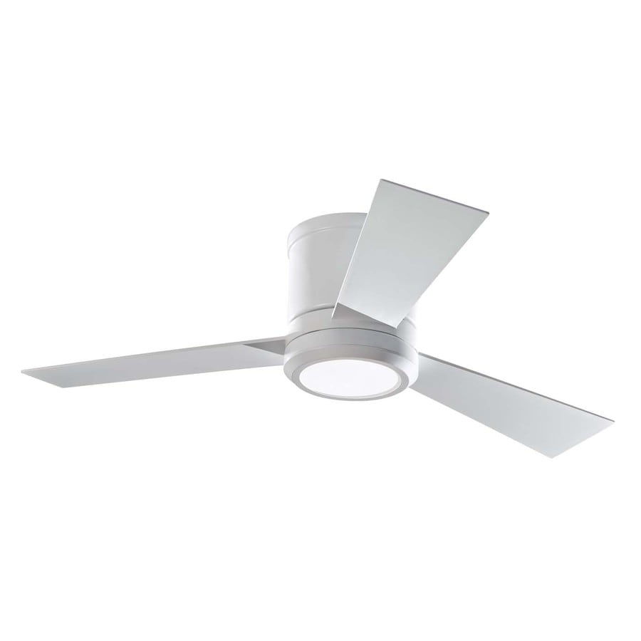 Shop Monte Carlo Fan Company Clarity In Rubberized White Flush - Flush mount kitchen ceiling fans with lights