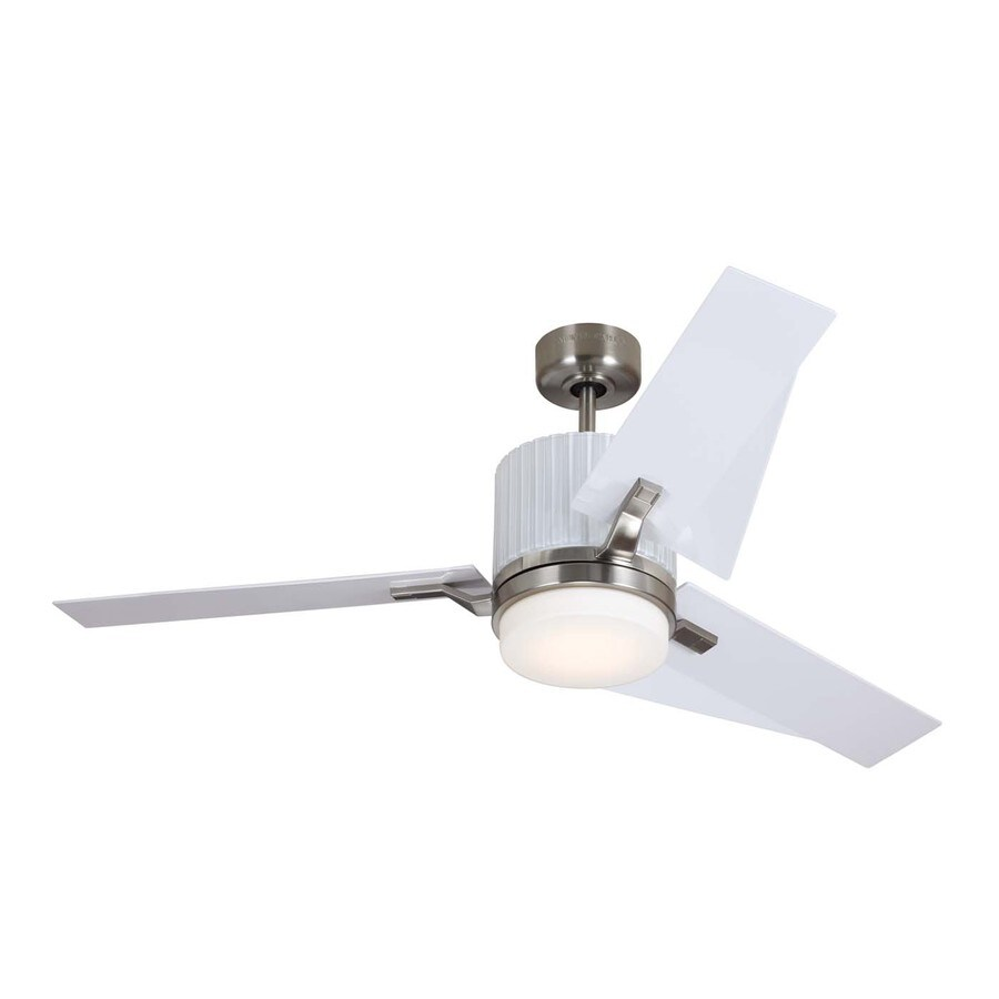 Monte Carlo Fan Company Ken 52-in Brushed Steel Downrod Mount Indoor Ceiling Fan with LED Light Kit and Remote Control Included (3-Blade)