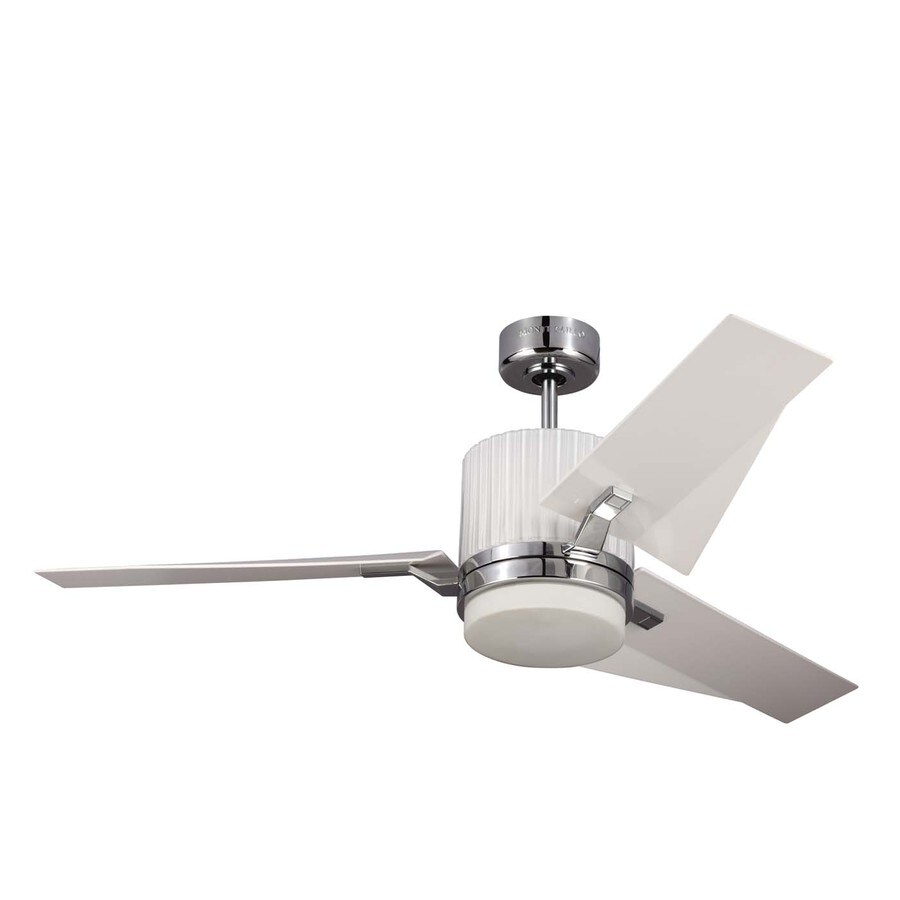 Monte Carlo Fan Company Ken 52-in Chrome Downrod Mount Indoor Ceiling Fan with LED Light Kit and Remote Control Included (3-Blade)