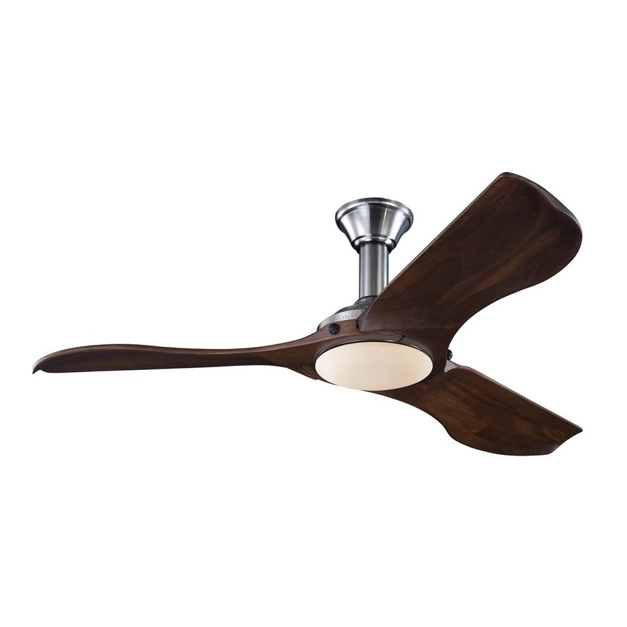 Monte Carlo Fan Company Minimalist 56-in Brushed Steel Downrod Mount Indoor Ceiling Fan with LED Light Kit and Remote Control Included (3-Blade)