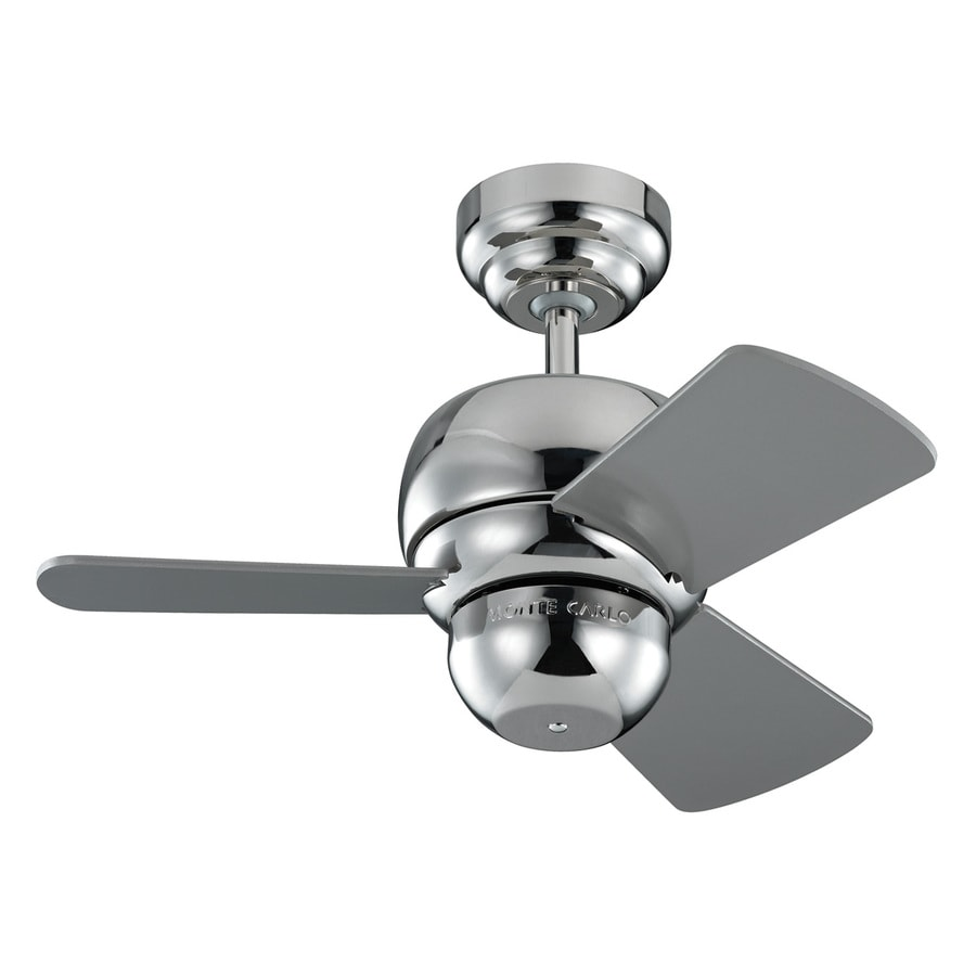 Monte Carlo Fan Company Micro 24 24-in Polished Nickel Downrod Mount Indoor/Outdoor Ceiling Fan Adaptable (3-Blade)