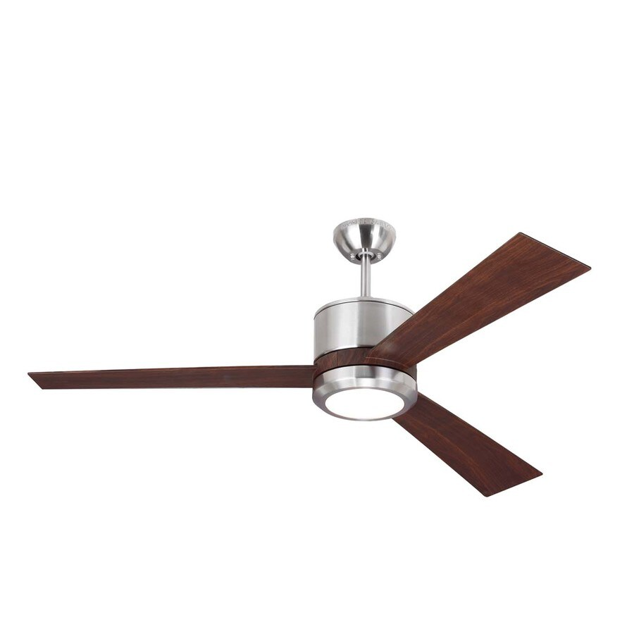 Monte Carlo Fan Company Vision 52-in Brushed Steel Downrod Mount Indoor Ceiling Fan LED Light Kit and Remote Control (3-Blade)
