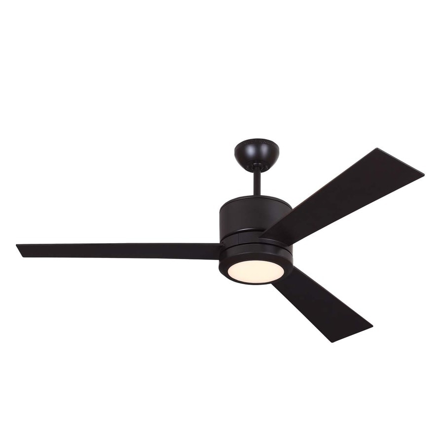 Monte Carlo Fan Company Vision 52-in Oil rubbed bronze Integrated Indoor Downrod Mount Ceiling Fan with Light Kit and Remote (3-Blade)