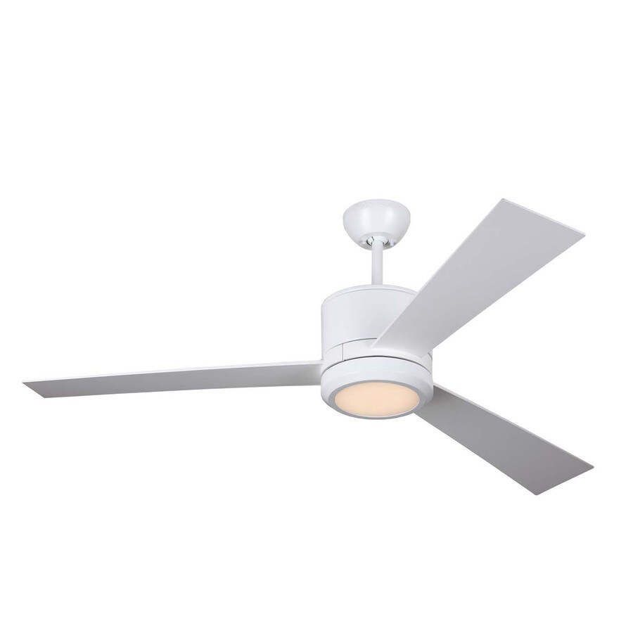 Monte Carlo Fan Company Vision 52-in Rubberized white Integrated Indoor Downrod Mount Ceiling Fan with Light Kit and Remote (3-Blade)