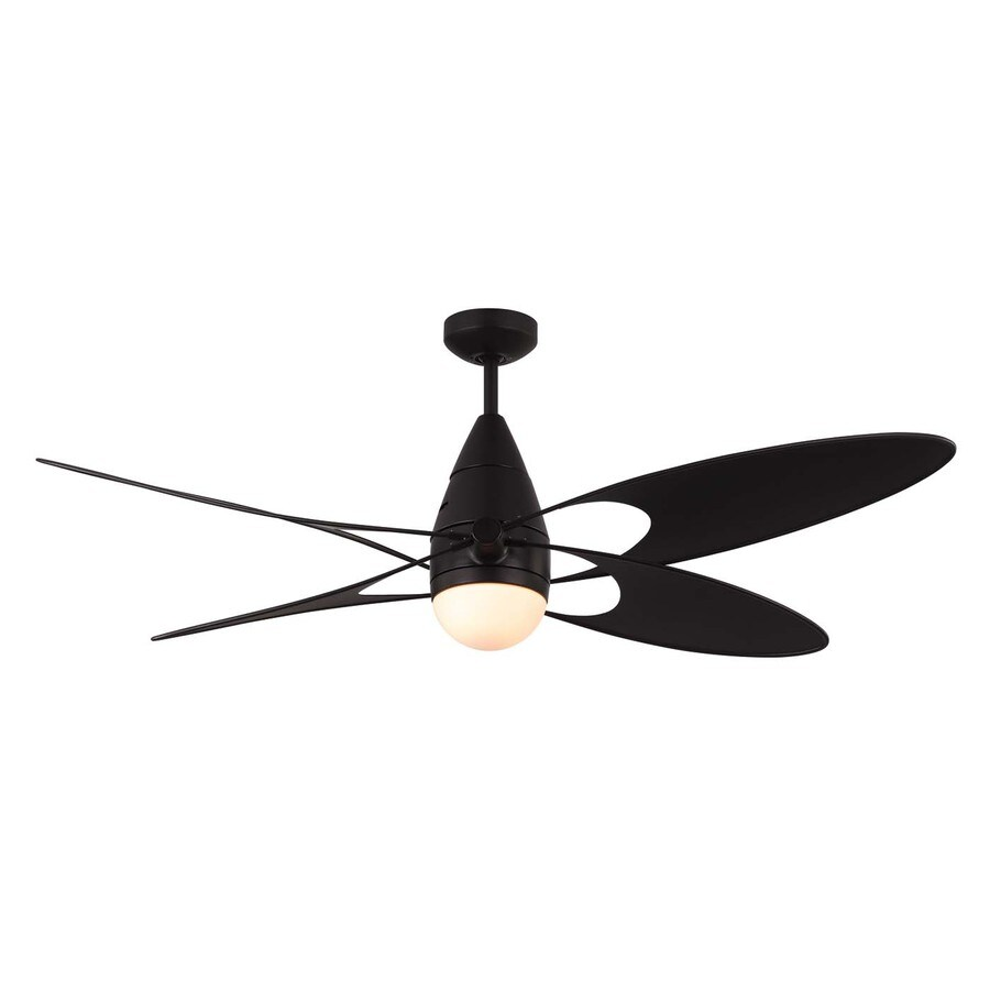 Monte Carlo Fan Company Butterfly 54-in Matte Black Downrod Mount Indoor/Outdoor Ceiling Fan Included Remote Control Included (4-Blade)