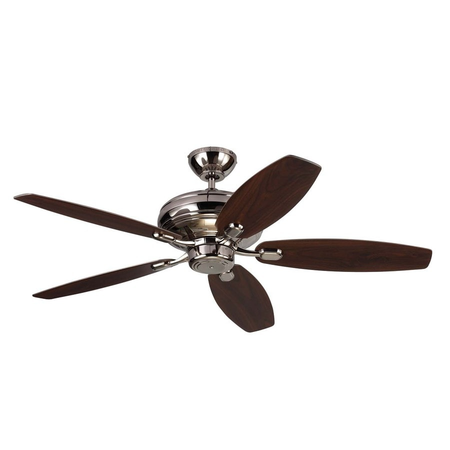 Monte Carlo Fan Company Centro Max 52-in Polished Nickel Downrod or Close Mount Indoor Ceiling Fan (5-Blade) ENERGY STAR