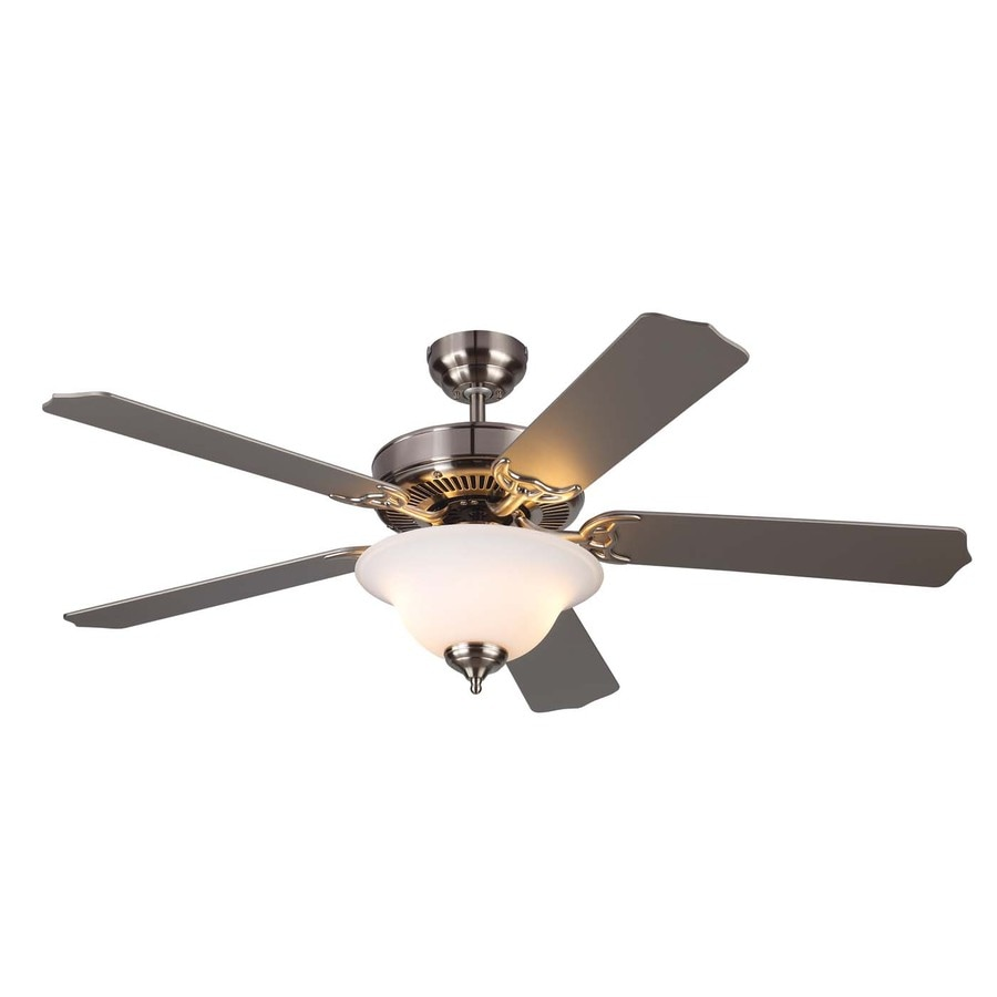 Monte Carlo Fan Company Homeowner Max 52-in Brushed steel Indoor Downrod Or Close Mount Ceiling Fan with Light Kit ENERGY STAR
