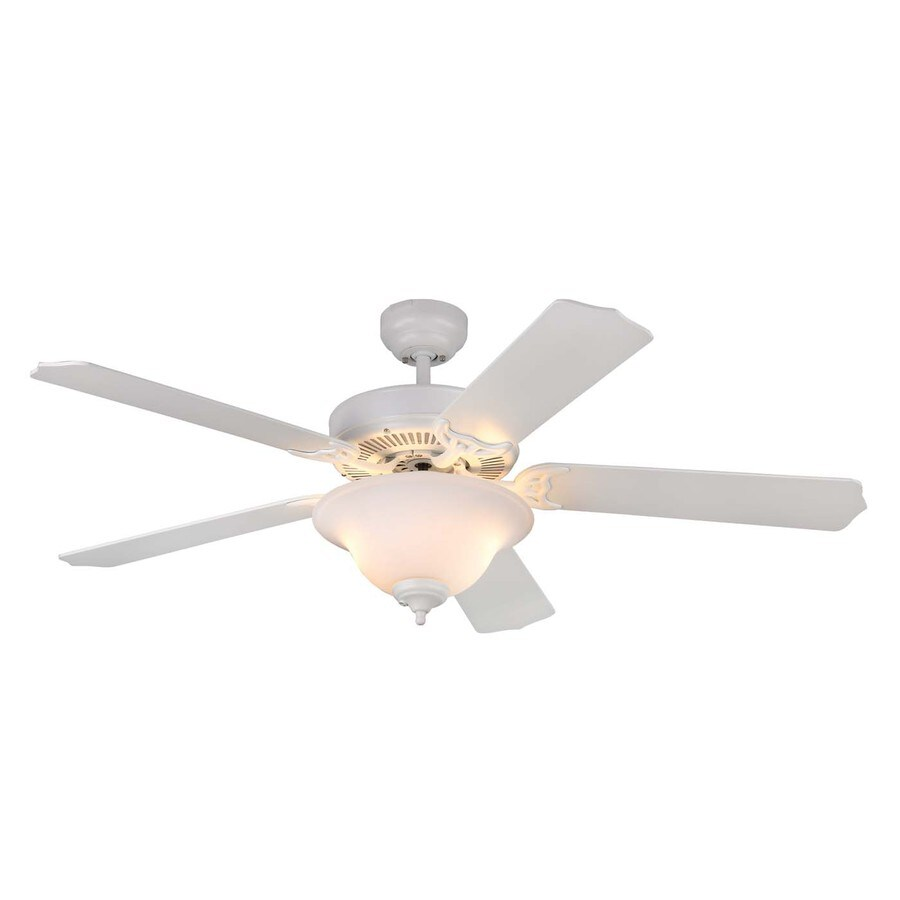 Monte Carlo Fan Company Homeowner Max 52-in Rubberized white Indoor Downrod Or Close Mount Ceiling Fan with Light Kit ENERGY STAR