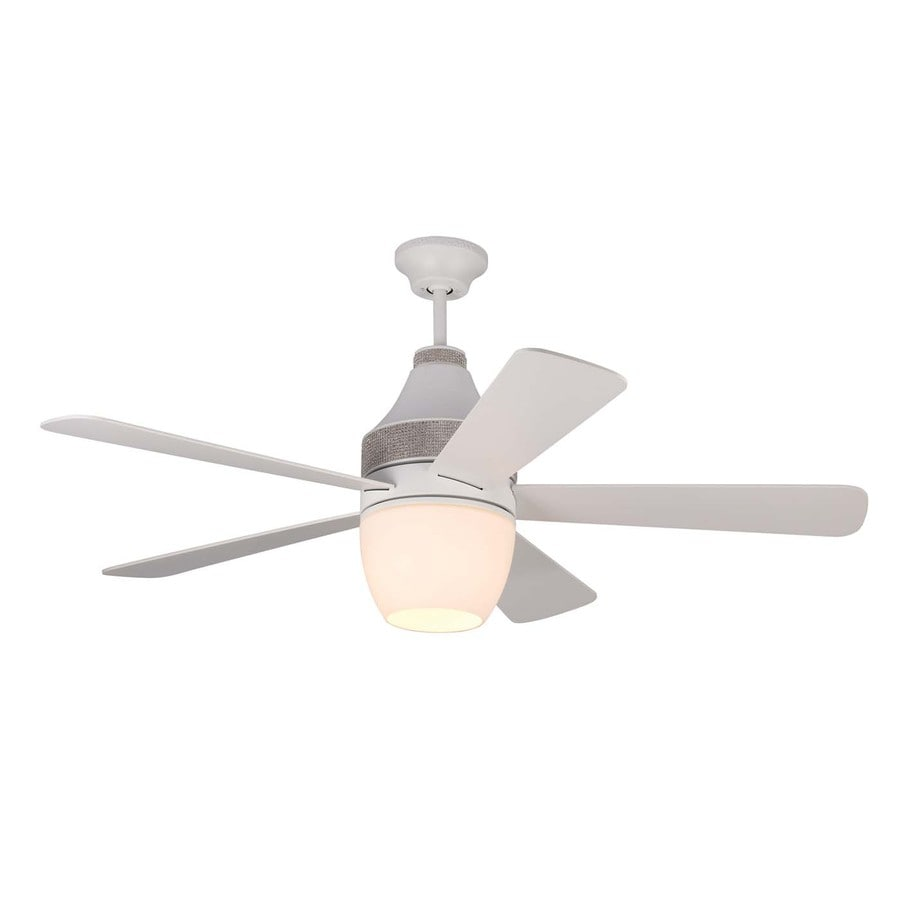 Monte Carlo Fan Company Nikki 52-in Rubberized white Integrated Indoor Downrod Mount Ceiling Fan with Light Kit and Remote