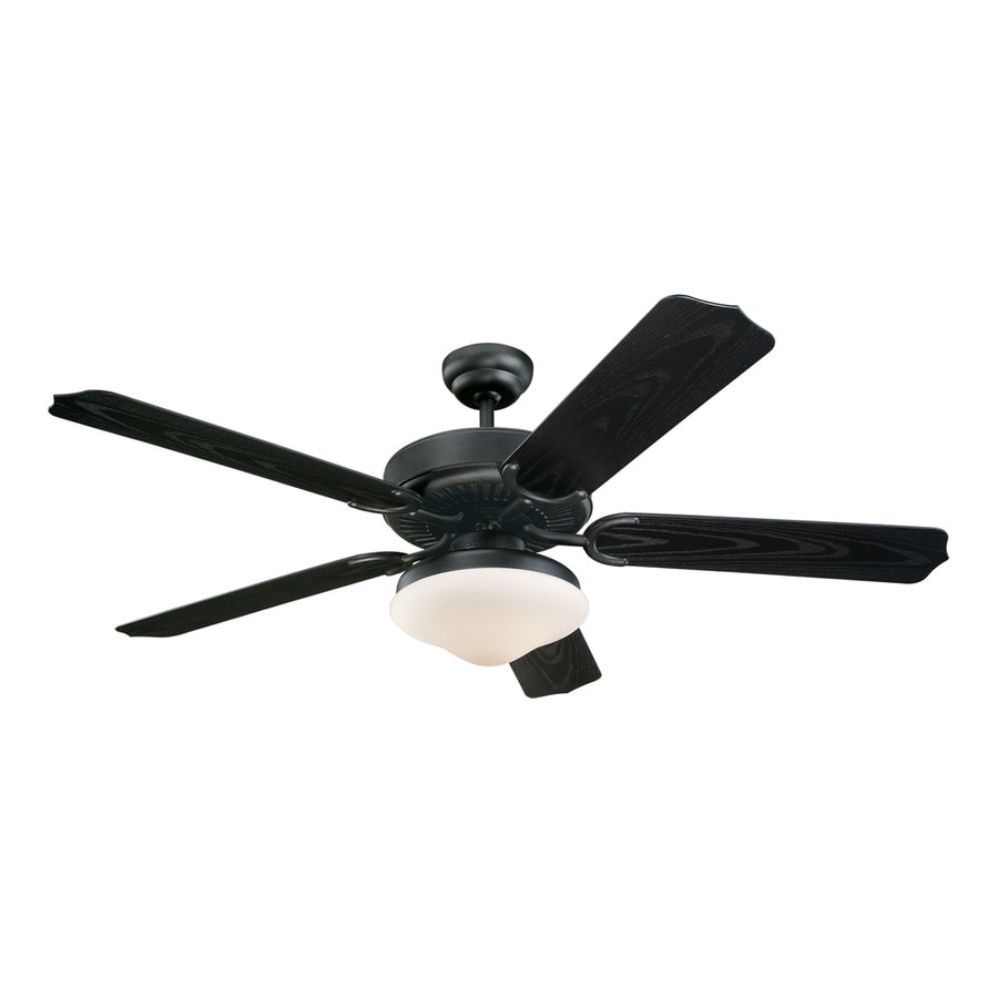 Monte Carlo Fan Company Weatherford 52-in Matte Black Downrod Mount Indoor/Outdoor Ceiling Fan Included (5-Blade)