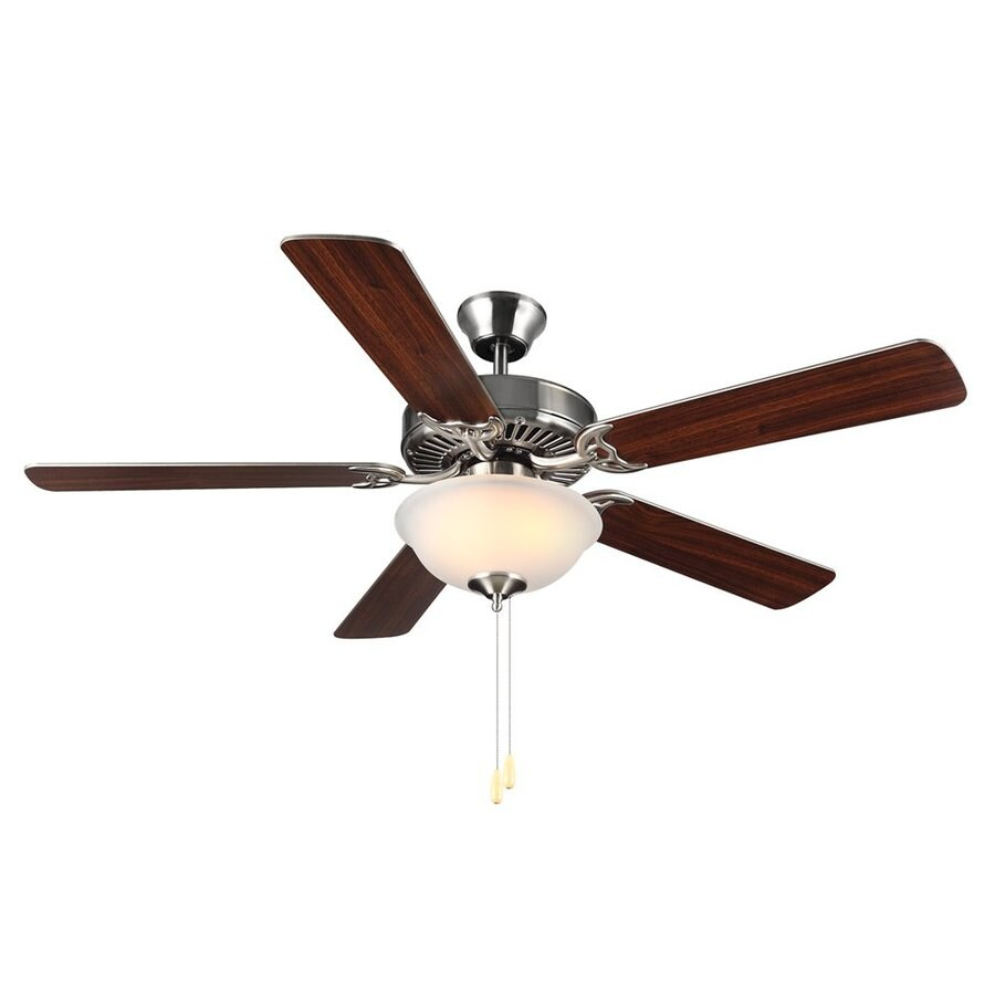 Monte Carlo Fan Company Homebuilder Ii 52-in Brushed Steel Downrod or Close Mount Indoor Ceiling Fan Included (5-Blade)