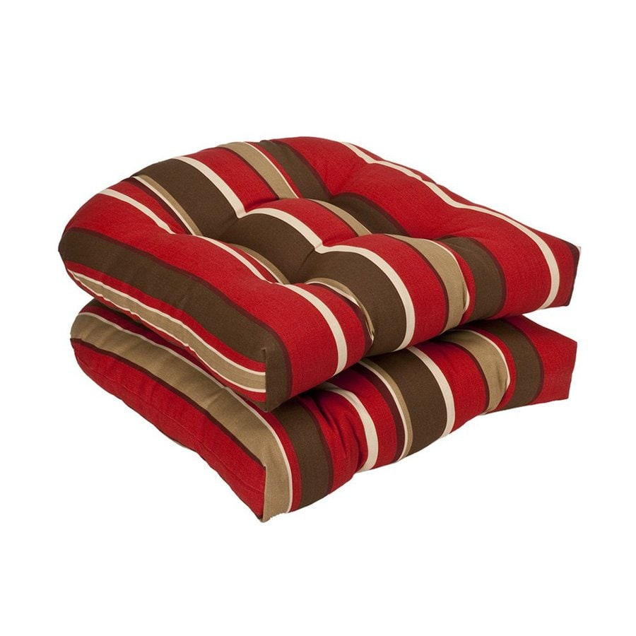Pillow Perfect Red Brown Striped Seat Pad For Universal
