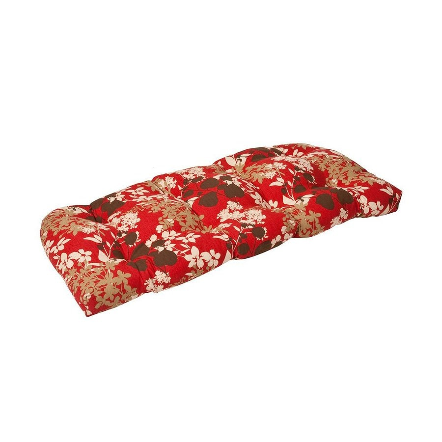 Pillow Perfect Montifleuri Red Brown Floral Seat Pad For Loveseat