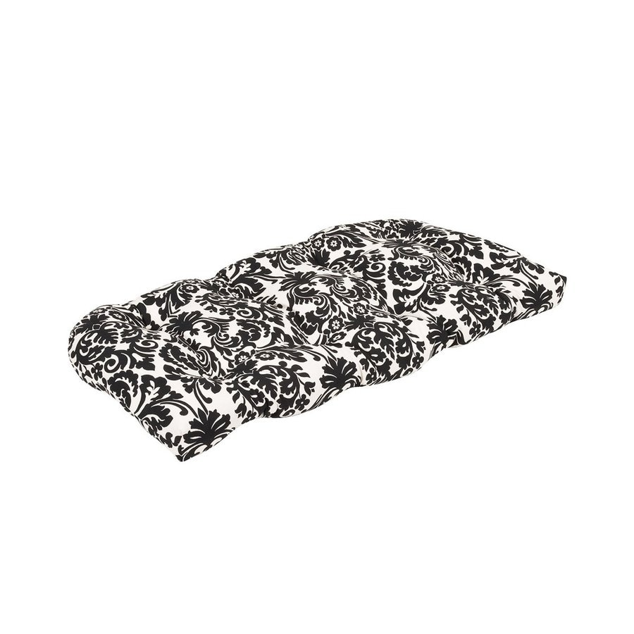 Pillow Perfect Essence Black Beige Damask Seat Pad For Loveseat