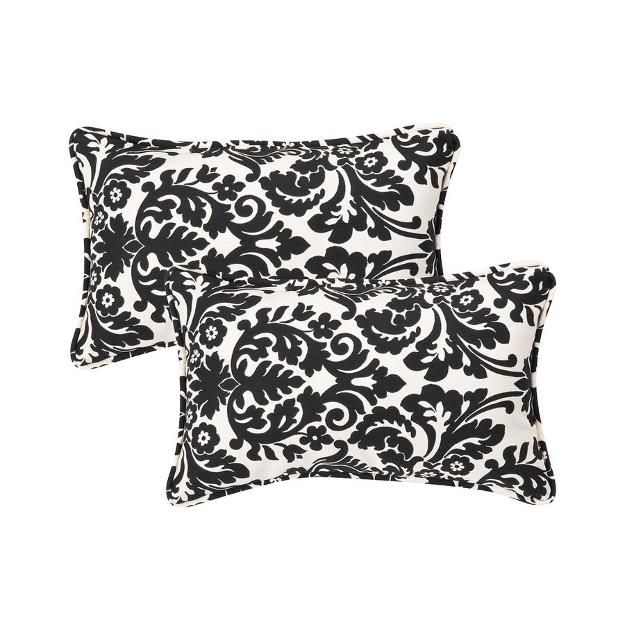 Newport Decorative Two Pack Pillows : Shop Pillow Perfect Damask 2-Pack Black Rectangular Outdoor Decorative Pillow at Lowes.com