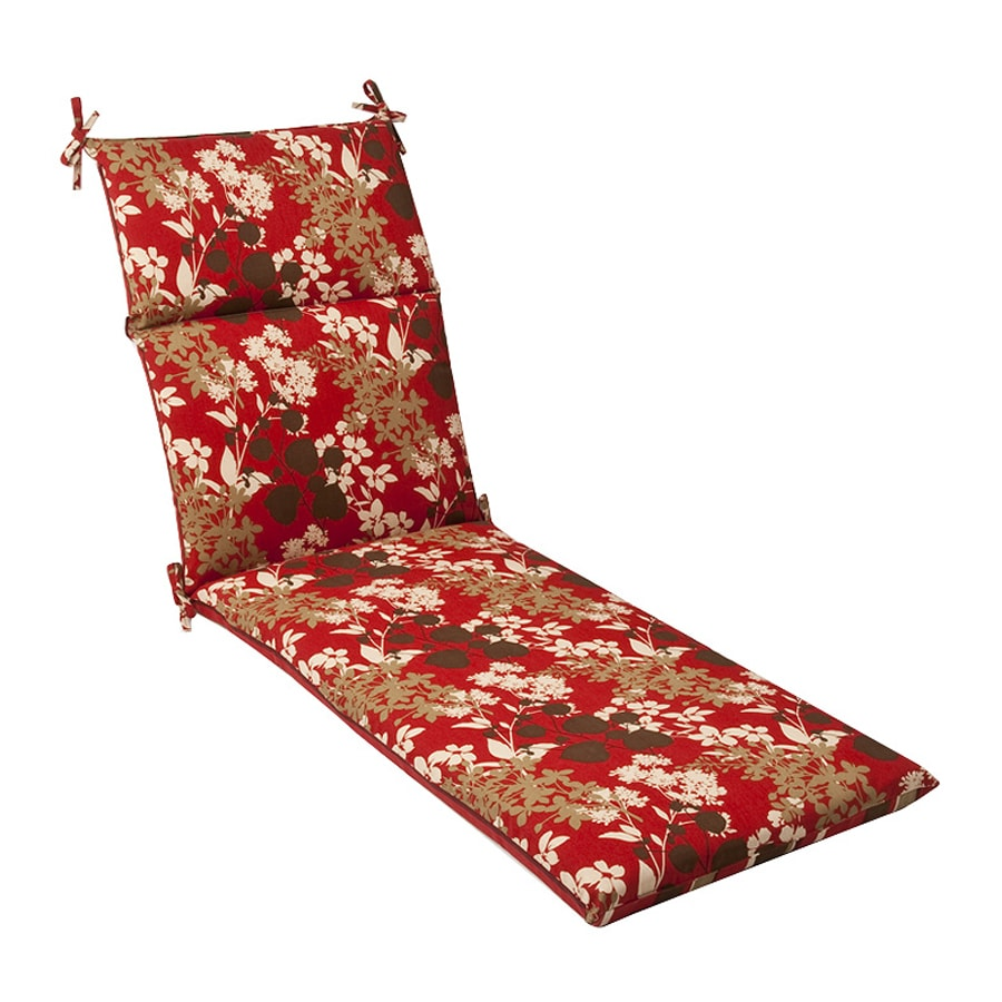 Pillow Perfect Floral/Striped Red/brown Floral Standard Patio Chair Cushion for Chaise Lounge