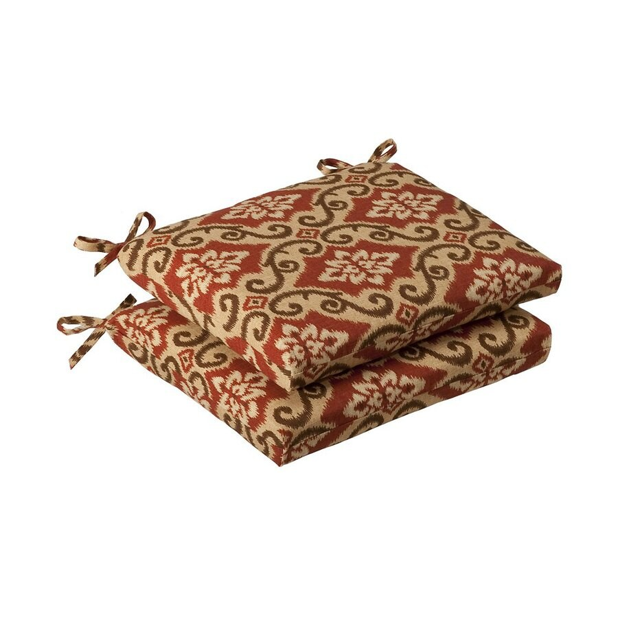 Pillow Perfect Shoreham Red Tan Damask Seat Pad For Universal