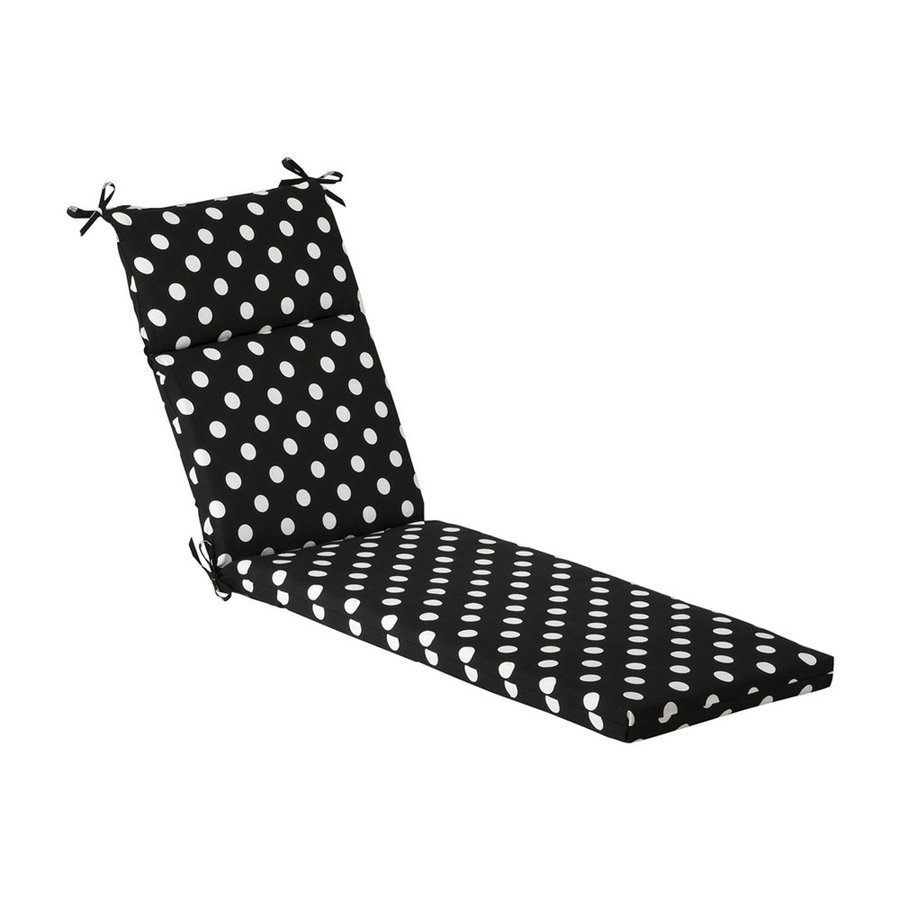 Pillow Perfect Black Polka Dot Standard Patio Chair Cushion for Chaise Lounge