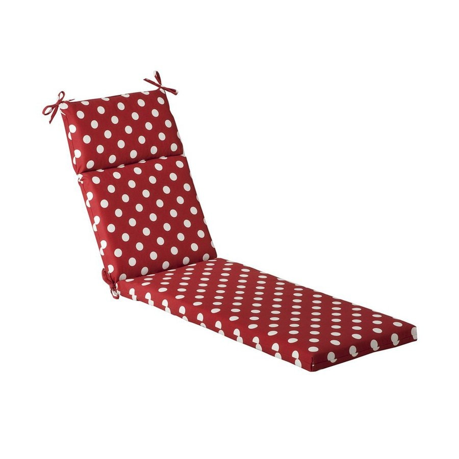 Pillow Perfect Red Polka Dot Standard Patio Chair Cushion for Chaise Lounge