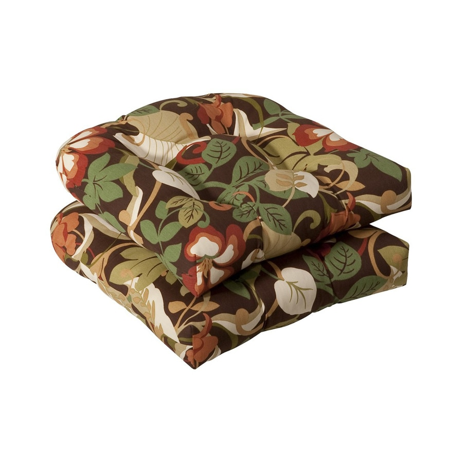 Pillow Perfect Coventry Brown Green Tropical Seat Pad For Universal