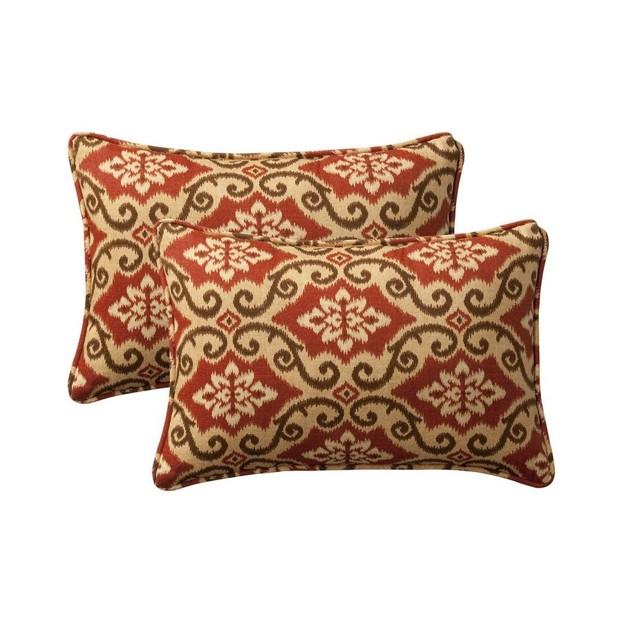 Shop Pillow Perfect Damask 2-Pack Red Rectangular Outdoor Decorative Pillow at Lowes.com